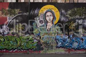 Madonna on a Mural Painting in Buenos Aires