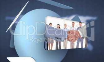 Screen displaying handshake and business people in digital inter