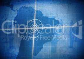 Digital global grid focusing on south america grunge style