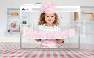 Digital internet window showing girl in cookery gear