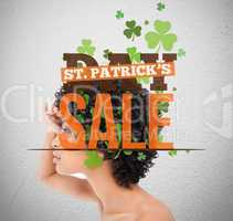 Text advertisement for st patricks day sale with girl looking in