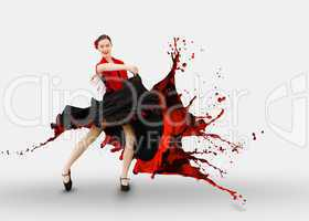 Flamenco dancer with dress turning to paint splashing