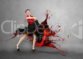 Flamenco dancer with dress turning into paint splashing