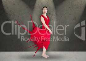 Happy asian woman with red dress turning to paint splatter on st