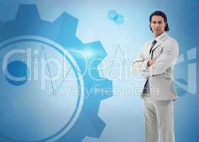 Businessman standing against a digital background