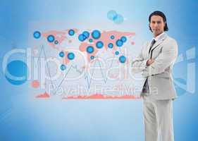 Businessman standing with a digital world map