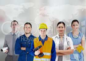 Five workers of different industries