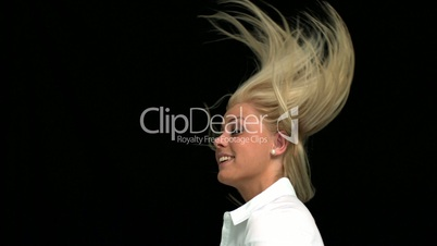 Blonde tossing her hair