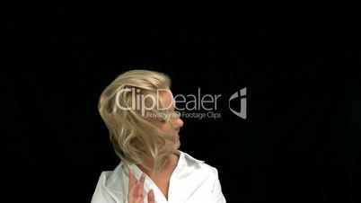 Blonde shaking her hair