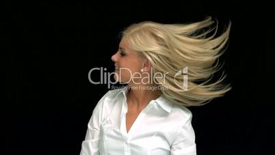 Blonde taking her hair down