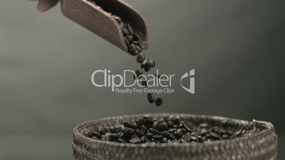 Hand pouring coffee beans from a wooden spoon into basket in black and white