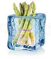 Ice cube and asparagus