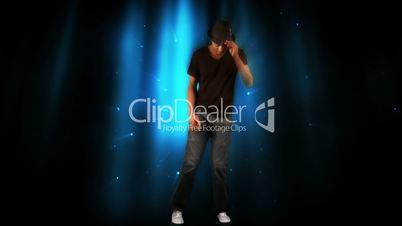 Stylish man dancing on digital background