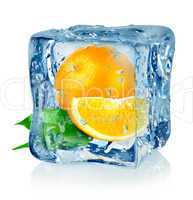Ice cube and orange