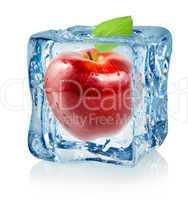 Ice cube and red apple