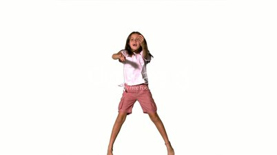 Girl jumping up and down on white background