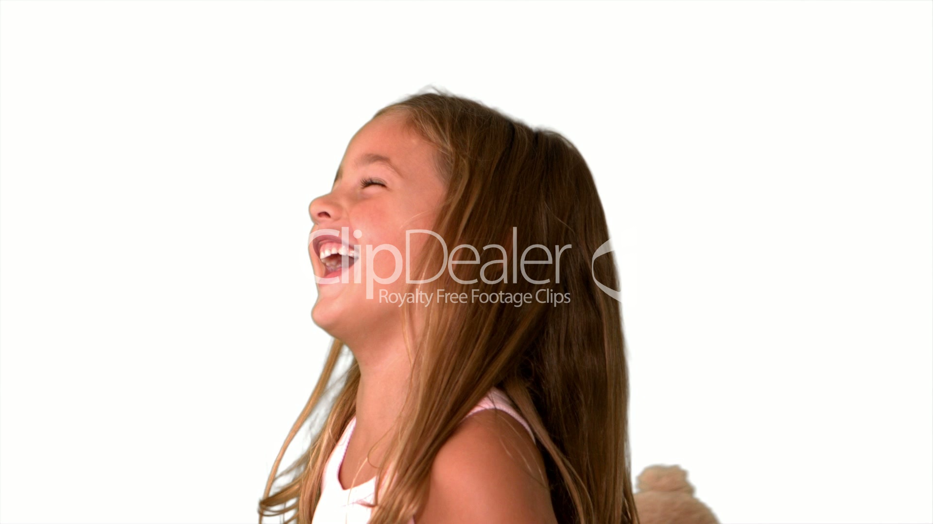Close Up Of Little Girl Laughing And Turning On White -3088