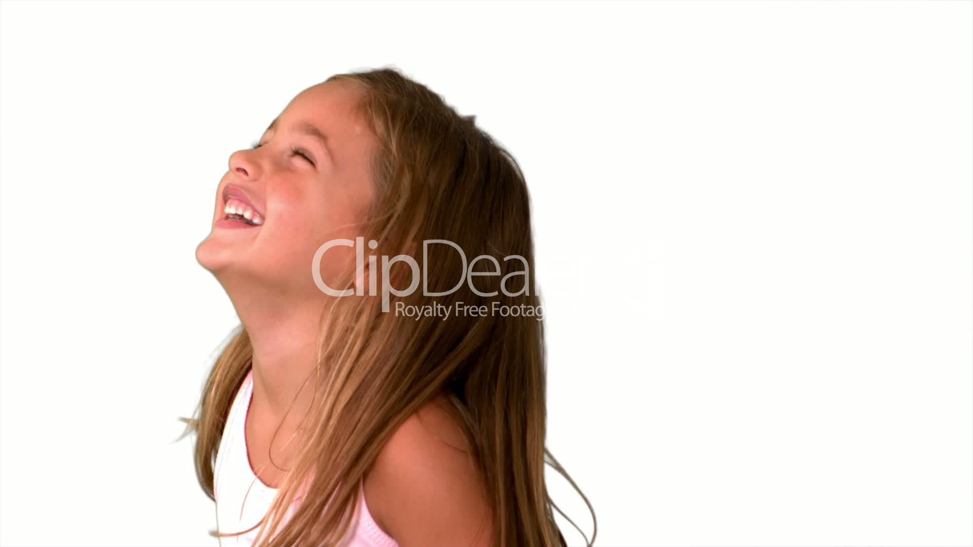 Close Up Of Little Girl Laughing And Turning On White -9126