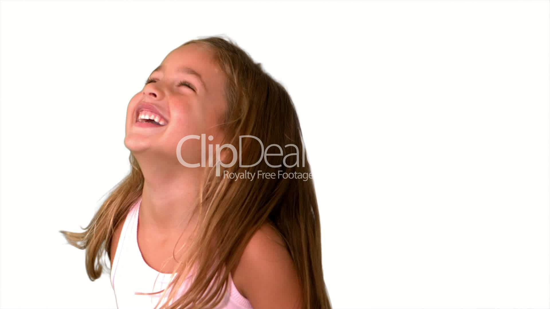Close Up Of Little Girl Laughing And Turning On White -8229