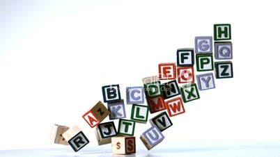 All letters of alphabet blocks dropping down