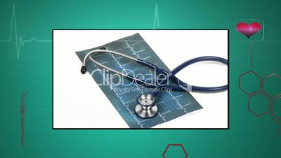 Medical montage on green interface