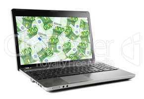Hundert Euro Scheine am Monitor