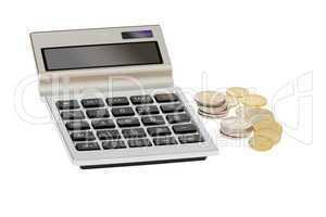 Taschenrechner und Euromünzen - Pocket calculator and euro coin