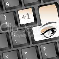 Computer keyboard with woman eye on key