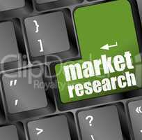 market research word button on keyboard with soft focus