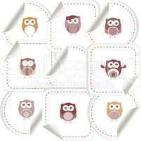 Set of doodle owls for funny decoration, such a logo. stickers set