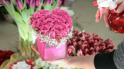 Pink Valentines Day Rose Heart Bouquet In Flower Shop