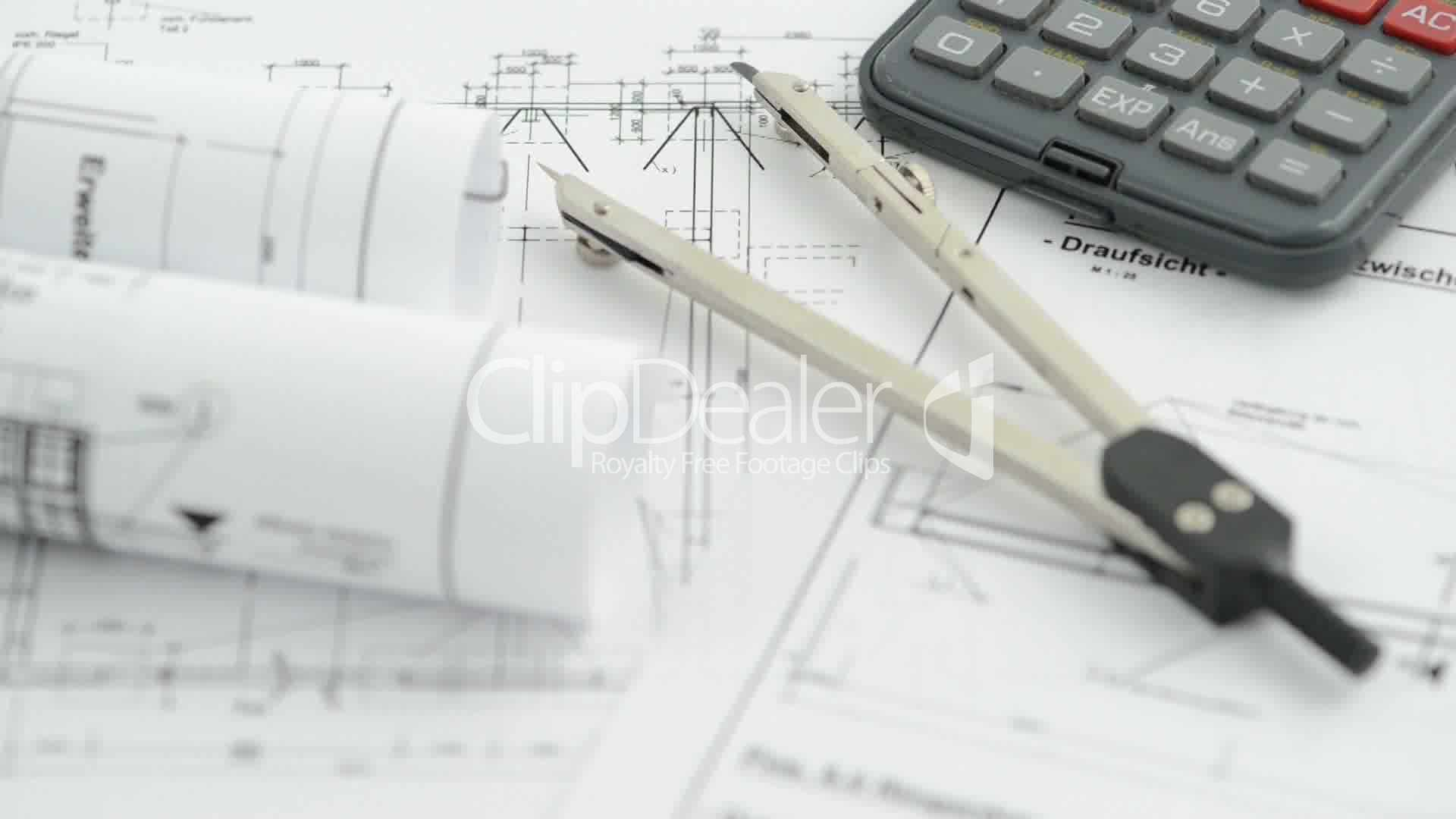 blueprint with regular compass and calculator: Royalty-free video ...