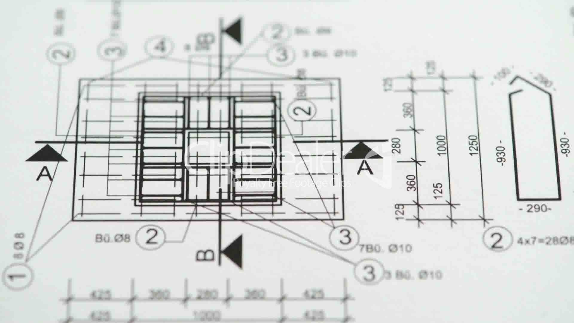 Check the measurements and dimensions on the blueprint: Royalty-free ...
