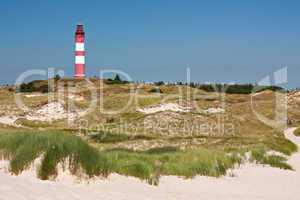 Dünenlandschaft auf Amrum mit Leuchtturm