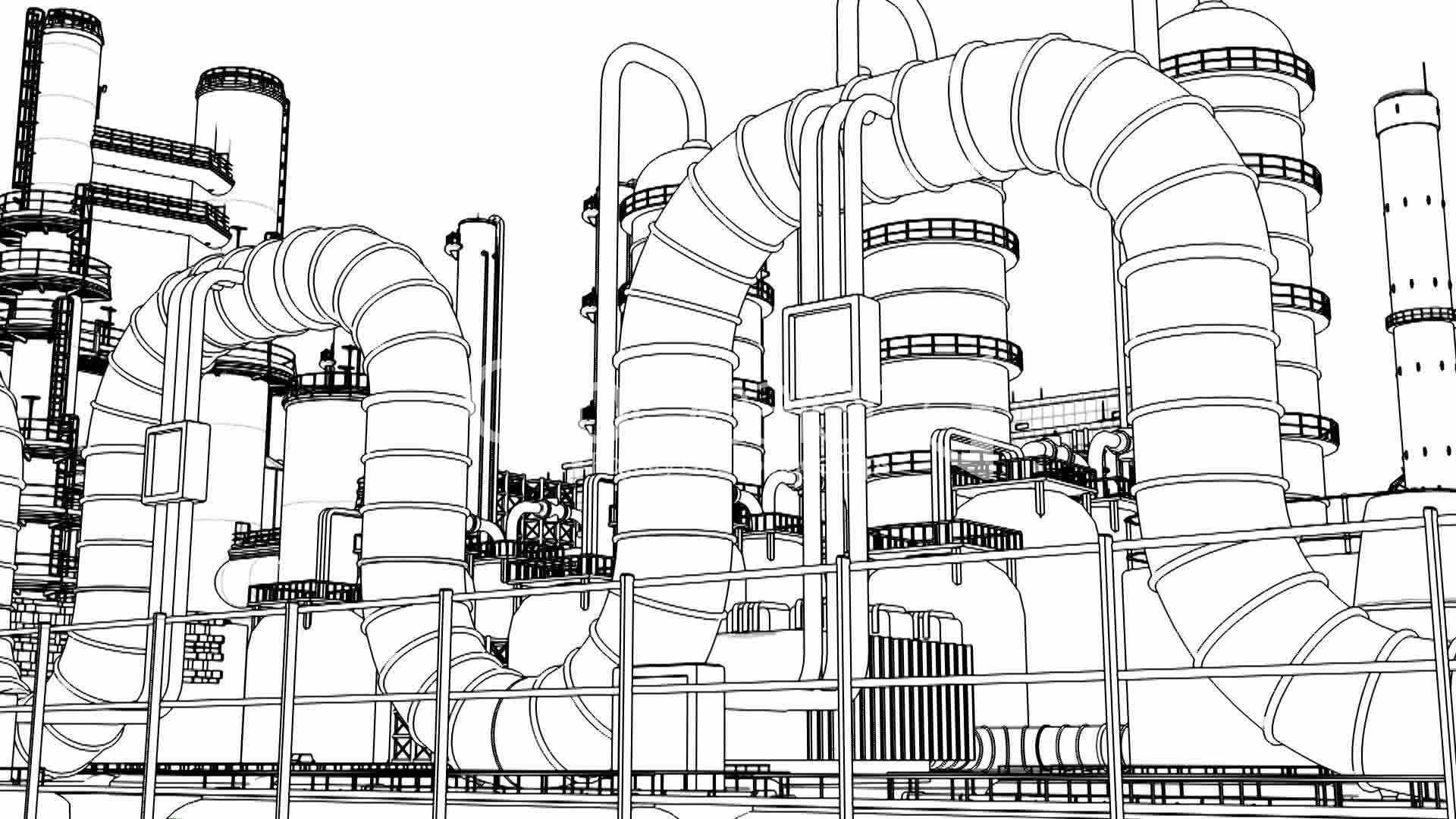 Chemical Plant Wire Frame Royalty Free Video And Stock