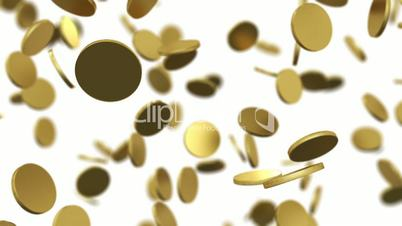 Gold coins falling on white. Beautiful Looped animation with DOF. HD 1080.