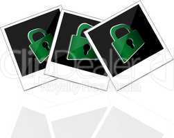instant photo frame with green padlock