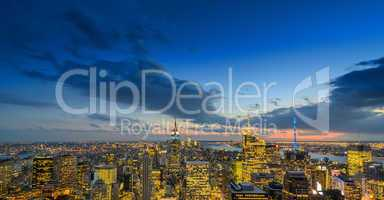 NEW YORK CITY - FEB 22: Empire State Building lights up in winte