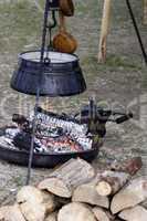 Feuerstelle auf einem Mittelaltermarkt