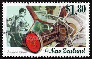 Postage stamp New Zealand 1999 Old Lawnmower, Nostalgia