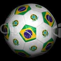 Fussball mit Fahne Brasilien
