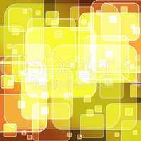 Round rectangle bokeh on yellow gradient background