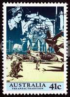 Postage stamp Australia 1990 Scene from WWII