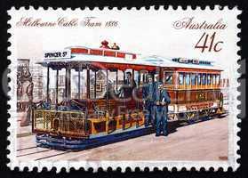 Postage stamp Australia 1989 Melbourne Cable Car, 1886