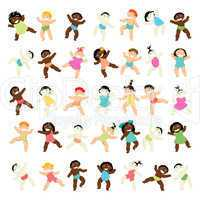 Multiracial baby walking collection