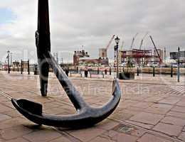 Large ships anchor outside Liverpool Maritime Museum, Liverpool,