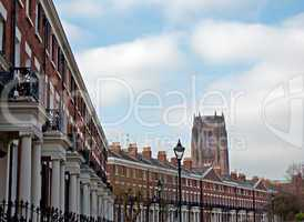 Elegant Georgian Terraced houses with Liverpool Anglican Cathedr