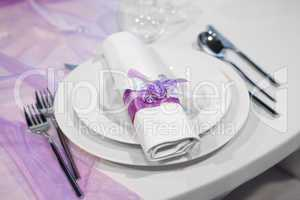 Detail of a wedding dinner setting