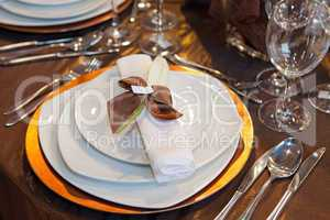 Wedding dinner detail in white and brown