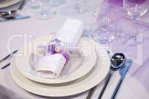 Detail of a wedding dinner setting
